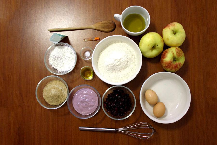 ingredienti torta mele e mirtilli confoodential