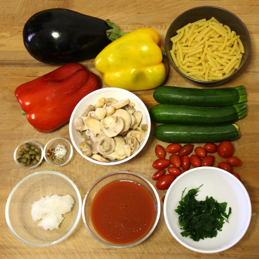 Ingredienti ricetta pasta con verdure