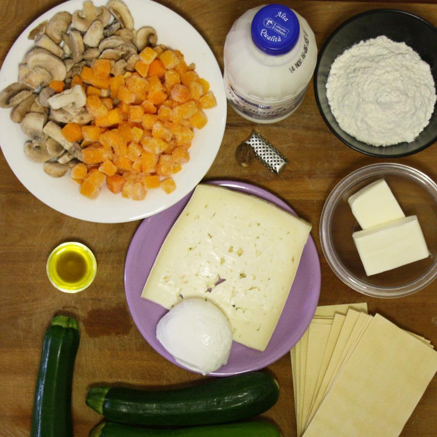 Ingredienti per le lasagne vegetariane bianche