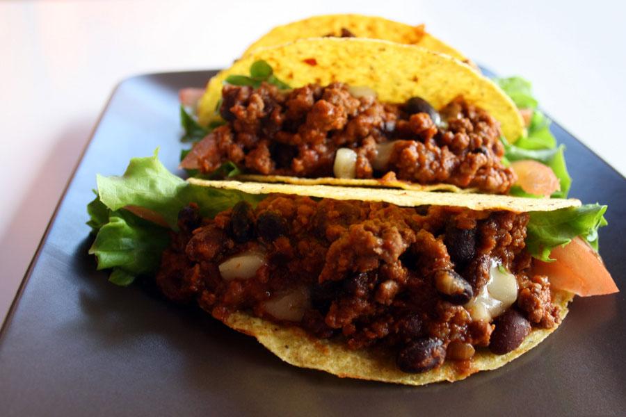 Tacos facili e veloci con chili di carne alla messicana
