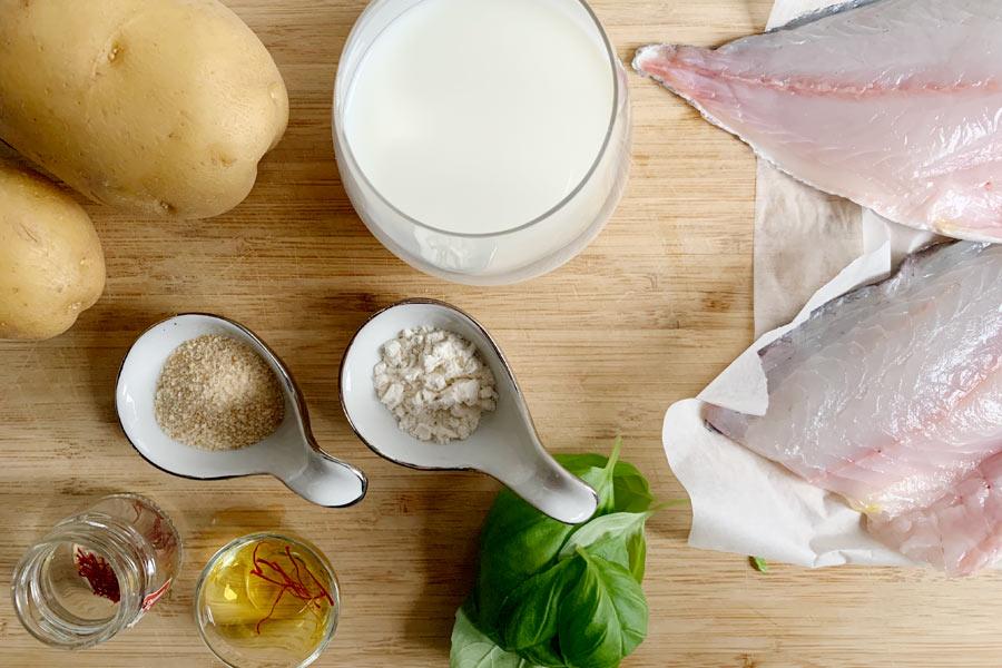 Orata allo zafferano con purè di patate al basilico