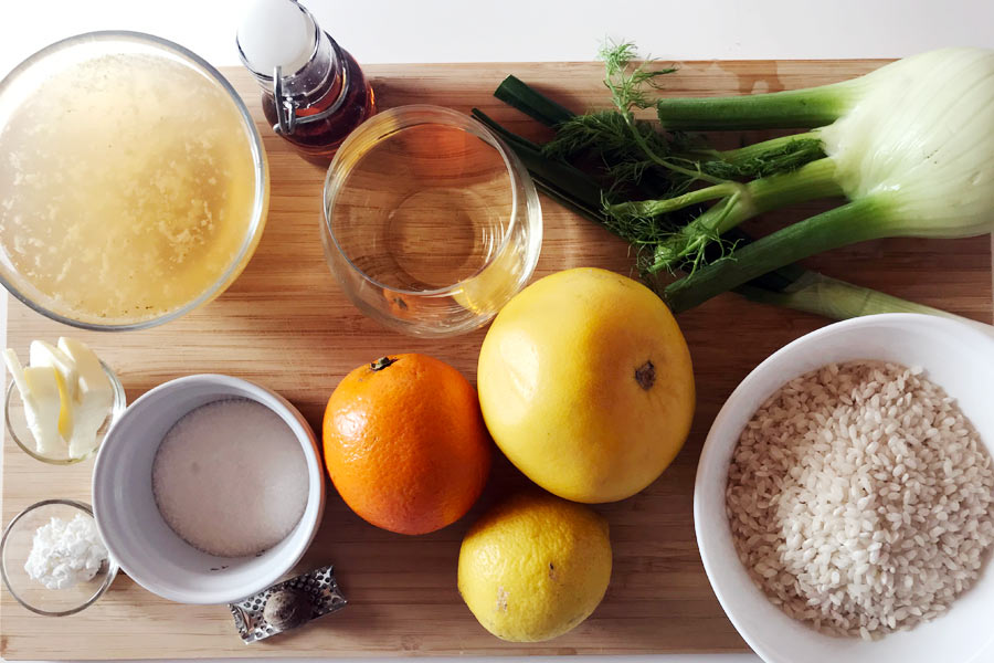 Risotto ai finocchi con riduzione agli agrumi