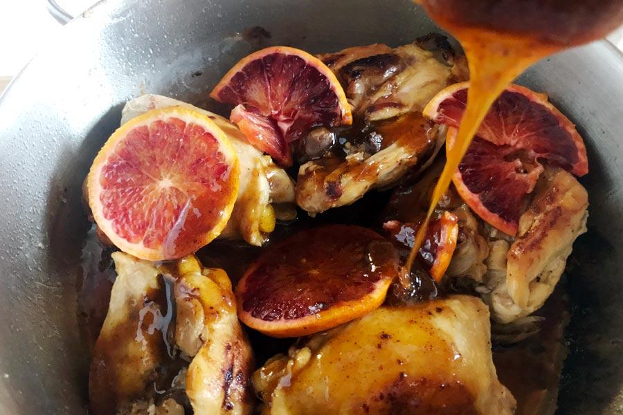 Pollo all'arancia glassato